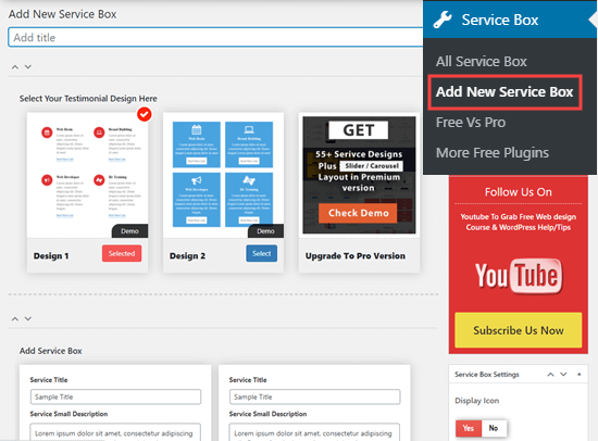 ایجاد مجموعه ای جدید از جعبه های خدمات در وردپرس