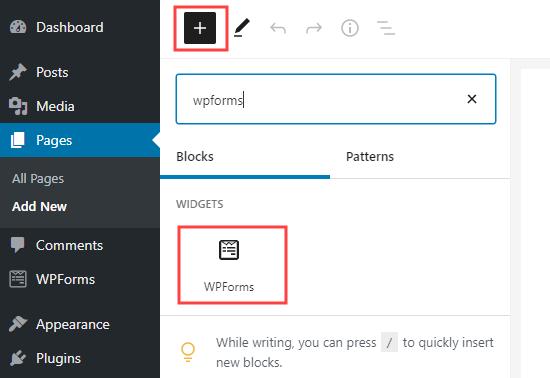 یک بلوک WPForms به صفحه خود در وردپرس اضافه کنید