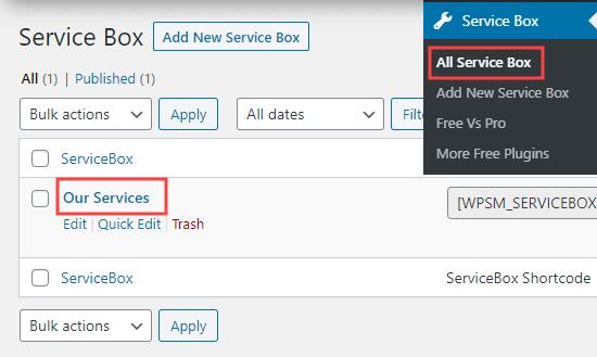 صفحه ای که جعبه های خدمات شما را نشان می دهد