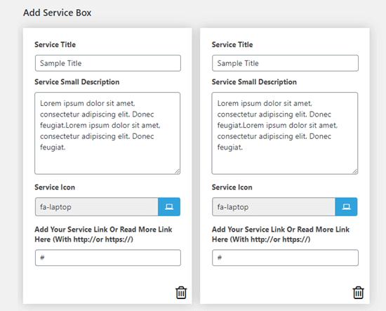 قبلاً دو جعبه سرویس با متن پیش فرض برای شما ایجاد شده است