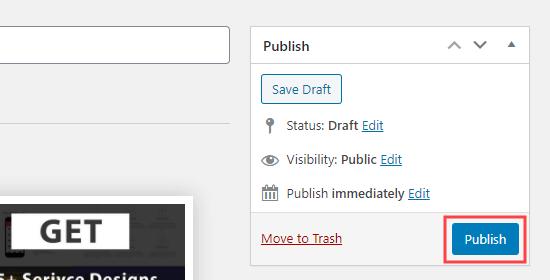 برای انتشار جعبه های خدمات خود ، روی دکمه انتشار کلیک کنید