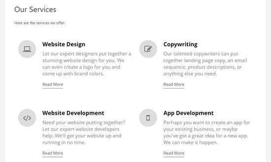 یک صفحه خدمات تکمیل شده با یک بخش خدمات