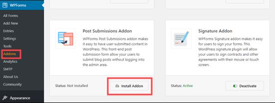 نصب افزونه ارسال پست های WPForms