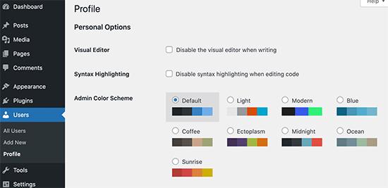 پالت های طرح رنگ مدیر در وردپرس