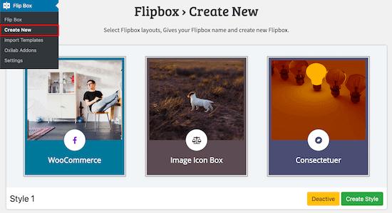 یک flipbox جدید ایجاد کنید