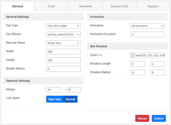 منوی تنظیمات کلی Flipbox