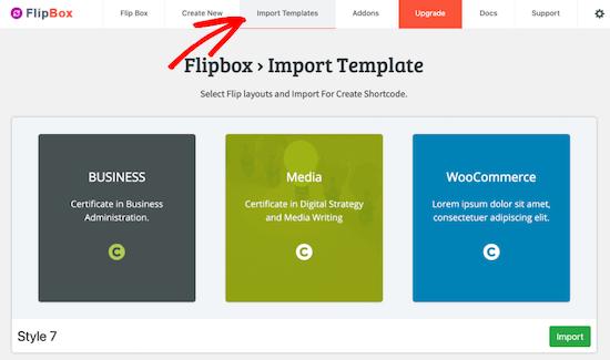الگوی flipbox را وارد کنید