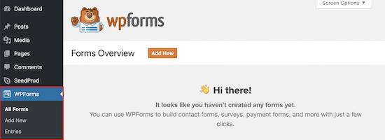 منوی نصب افزونه WPForms