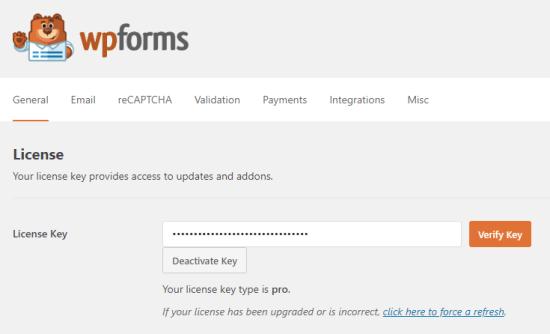کلید مجوز خود را برای WPForms وارد کنید