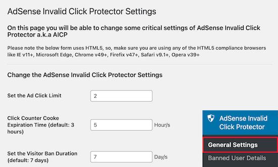 تنظیمات محافظ کلیک نامعتبر AdSense