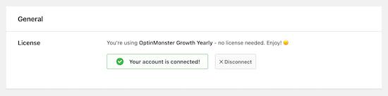 حساب OptinMonster متصل شد
