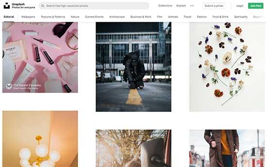 Unsplash یک منبع تصویر رایگان محبوب برای وبلاگ نویسان است