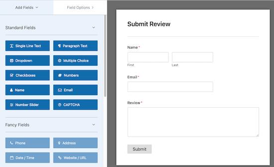 WP Forms ویرایشگر کشیدن و رها کردن است