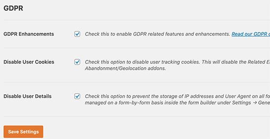 تنظیمات WPForms GDPR