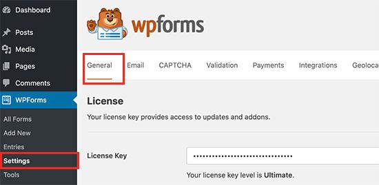 تنظیمات WPForms