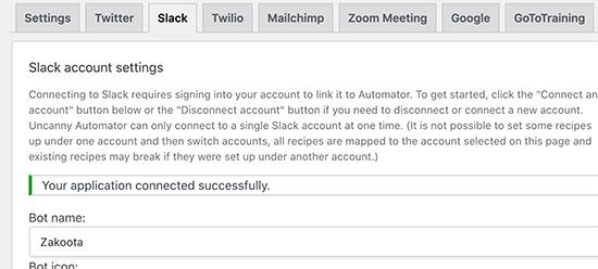 با موفقیت Slack را از طریق Uncanny Automator به WordPress متصل کردید
