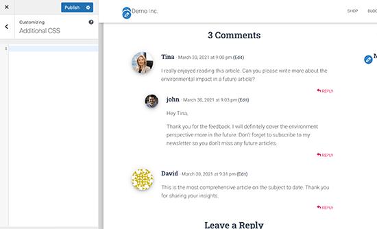 مشاهده نظرات در Customizer Theme