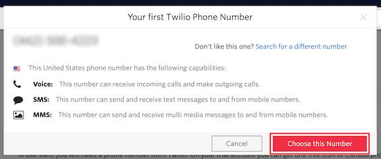 شماره تلفن Twilio