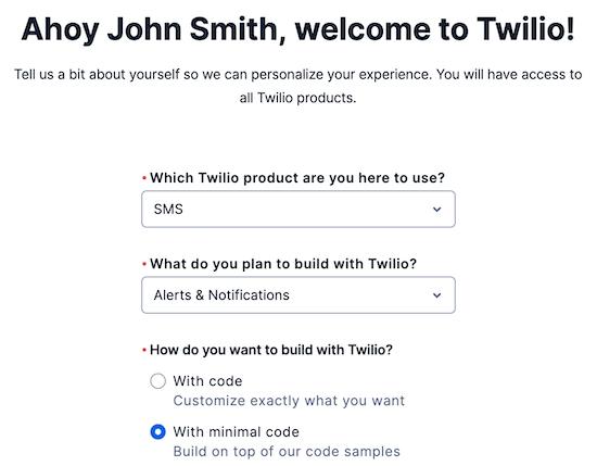 اطلاعات ثبت نام Twilio