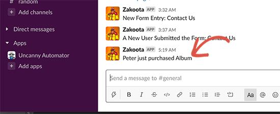 پیام خرید ووکامرس در Slack