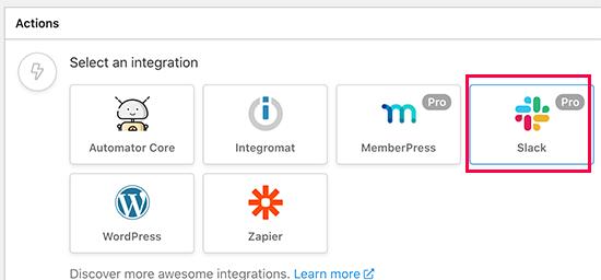Slack را به عنوان یکپارچه سازی عملکرد خود انتخاب کنید