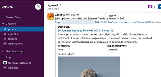 اعلان وردپرس در یک کانال Slack نمایش داده می شود