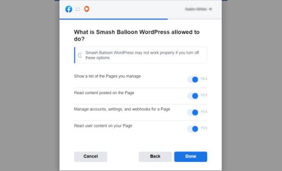 به Smash Balloon اجازه دهید صفحات را مدیریت کند