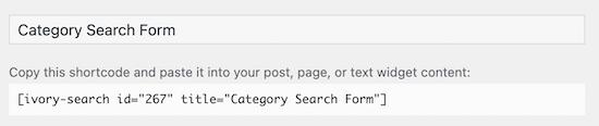 کپی کردن کد کوتاه جستجوی دسته بندی
