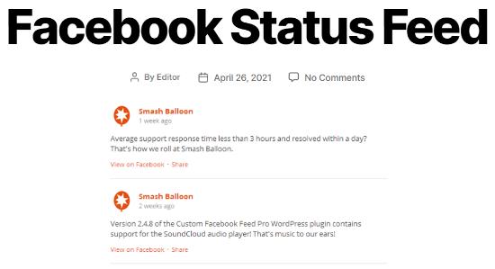 مثال فید وضعیت فیس بوک سفارشی