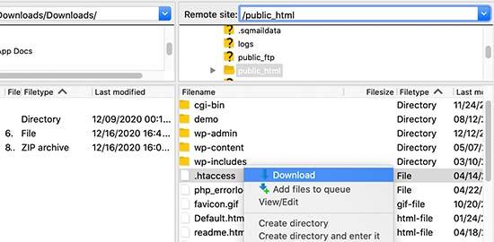 فایل htaccess را به عنوان پشتیبان بارگیری کنید