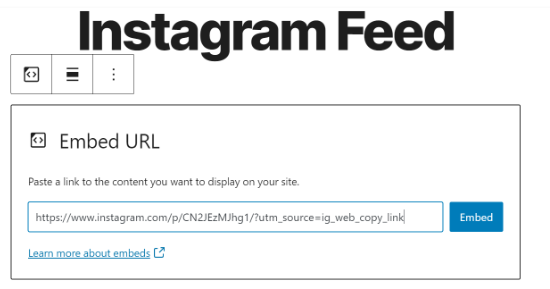 URL پست اینستاگرام را وارد کنید