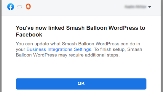 Smash Balloon به فیس بوک پیوند داده شده است