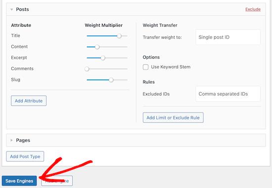 SearchWP موتور جستجو را ذخیره کنید