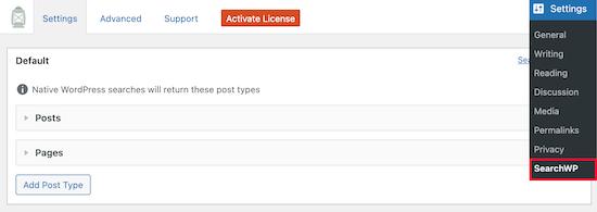 منوی تنظیمات SearchWP