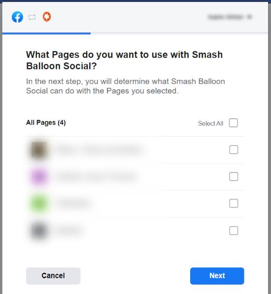 صفحاتی را برای استفاده با Smash Balloon انتخاب کنید