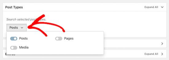 گزینه جستجوی پست را انتخاب کنید