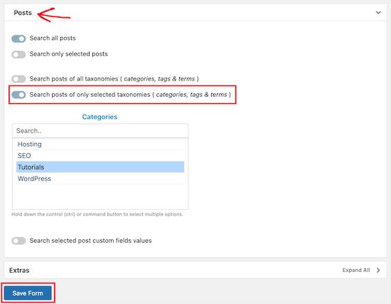 دسته های جستجوی وردپرس را انتخاب کنید