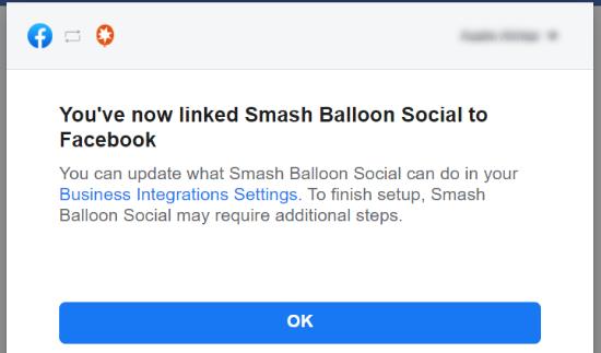 شما Smash Balloon را به Facebook متصل کرده اید